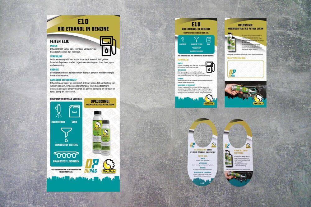 potentiële klanten voor poster, flyer en flessenhalshanger aantrekken zakelijke vormgeving